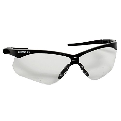 Jackson Safety V60 Nemesis Vision Correction Safety Glasses (28618), Clear Readers with +1.0 Diopters, Black Frame, 6 Pairs/Case