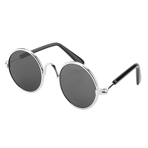Qiterr Fashion Cute Funny Pet Sunglasses Photo Prop Fashion Costume for Cats Dogs(Silver Frame+Black Glass)]()