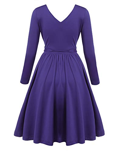 Women Deep V Dresses Neck Pleated A Sleeve Sexy Casual Flare Line Long Belt Fit Dress Purple ACEVOG with W0nIU4YqI