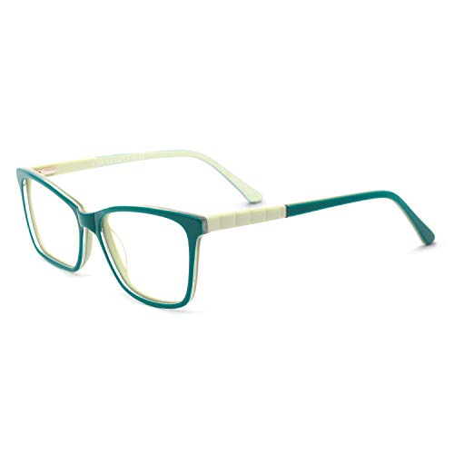 138 Eyeglasses - OCCI CHIARI Eyewear Frame Fashion Rectangular Non Prescription Anti-blue Light Lens for Women(A-Green)