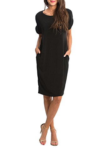 Imily Bela Summer Casual Dresses for Women, Crew Neck Short Sleeve Plain Pocketed Simple Jersey Dress, Knee Length Loose Tunic Dress, Solid Plus Size T-Shirt Dress with Pockets, Black, Small