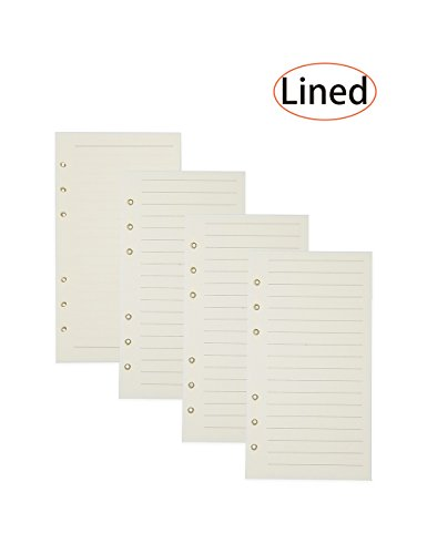 4 Pack Filler Paper Pages for 6-Holes Journal/Notebook/Planner/Personal Organizer 50 Sheets per Pack (50 Page Notebook)