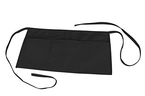Waist Apron with 3 Pockets Poly Cotton Commercial Restaurant Home Bib Spun, Black, Green, Navy, White, Royal, Red (100, Black) by ProEquip