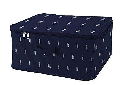 Compactor Set de 3 Gama Kasuri-Caja con Cremallera L | 45x46x20,5 cm | Sin Tejido 75 g | Color: Azul 533C + Estampado Blanco, 45 x 46 x 20,5 cm