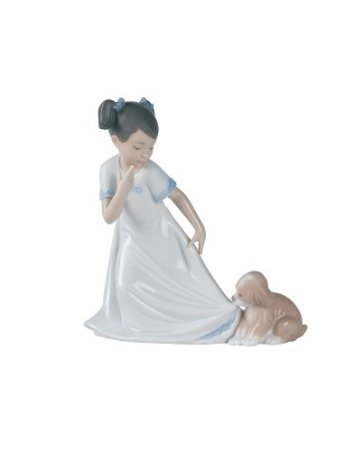 Figurine Girl Porcelain Nao - Nao by Lladro Collectible Porcelain Figurine: LET ME GO! - 6 3/4