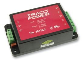 TRACOPOWER TML 30124C AC-DC CONV, ENCLOSED, 1 O/P, 30W, 1.25A, 24V