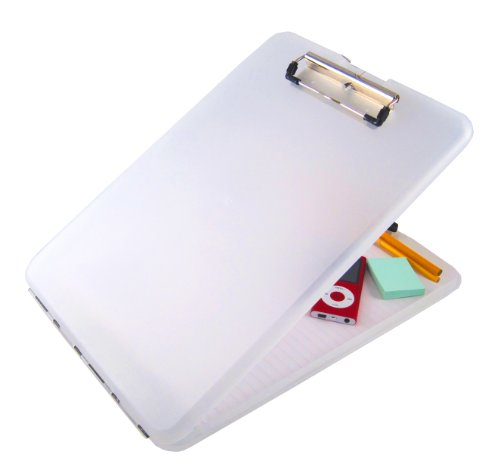 Saunders Clear SlimMate Plastic Storage Clipboard - Polypropylene Recordkeeping Tool with Storage Compartment. Office - Office Clear Clipboard
