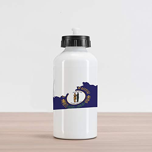 - Lunarable Kentucky Aluminum Water Bottle, Map with Flag of Bluegrass State United We Stand Divided We Fall Motto, Aluminum Insulated Spill-Proof Travel Sports Water Bottle, Cobalt Blue Multicolor