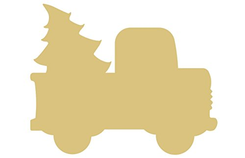 Christmas Truck Cutout Unfinished Wood Holiday Cut Out Christmas Door Hanger MDF Shape Canvas Style 1