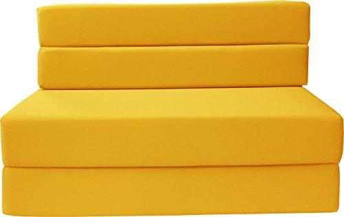 D&D Futon Furniture Folding Foam Mattress, Sofa Chair Bed, Guest Beds (Twin Size, Yellow)