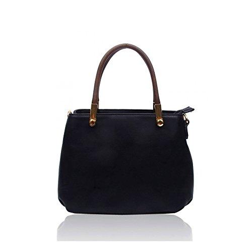 LeahWard Damen Schultertasche Taschen Qualität Kunstleder Tote Tasche Handtaschen A4 Schule 160437 Schwarz