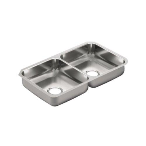 Double Bowl Rectangular - Moen G20214 2000 Series 20 Gauge Double Bowl Undermount Sink, Stainless Steel