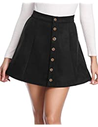 Women's Faux Suede Button Closure A-Line Mini Short Skirt for New Year 2019