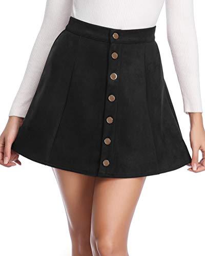 Fuinloth Women's Faux Suede Skirt Button Closure A-Line High Wasit Mini Short Skirt 2019 Black - Suede Leather Mini