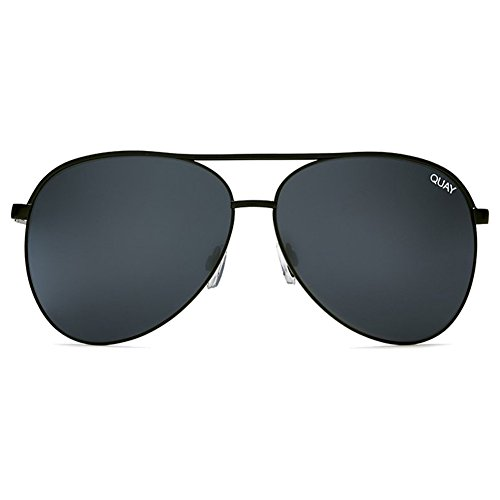 Quay Vivienne Sunglasses | Aviator Mirror Lens | UV Protection (Black/Smoke Mirror, - Vivienne Quay