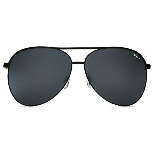 Quay Vivienne Sunglasses | Aviator Mirror Lens | UV Protection (Black/Smoke Mirror, - Sunglasses Protection Uv Australia