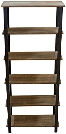 Alaterre Furniture Sonoma 70″ Tall 5-Shelf Metal and Solid Wood Bookcase