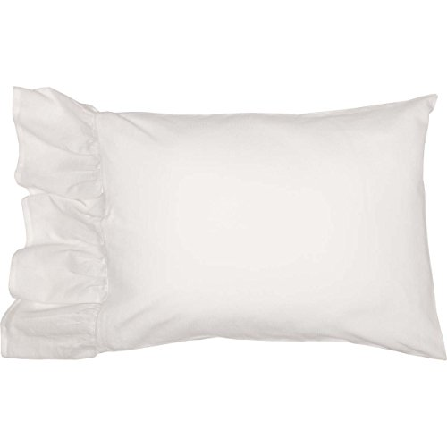 Sophia Ruffled Pillow Cases, Set/2, Fit Standard Bed Pillows, Antique Cream-White, Soft & Draping, Farmhouse Style Bedroom Décor