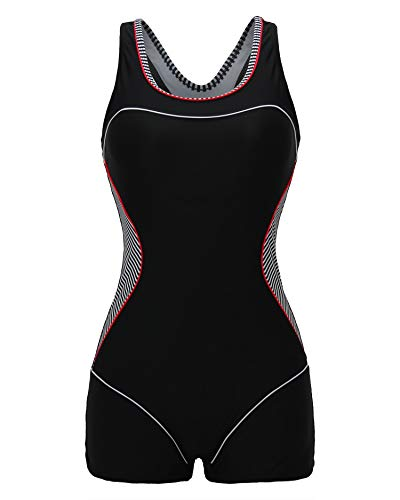 ReliBeauty Women's Boy-Leg One Piece Swimsuit, Black-1, XL ()
