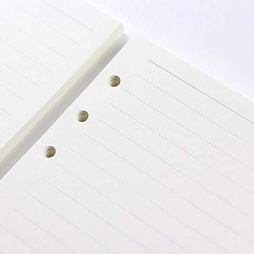 A7 Ricambi di fogli sfusi a 6 fori di ricambio per quaderni di carta a fogli vuoti allinterno del quaderno per appunti Core A5 linea orizzontale A6