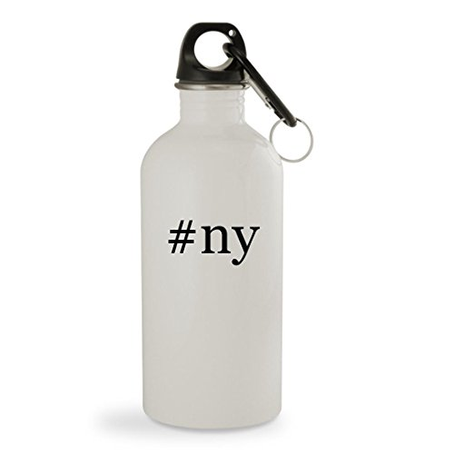 #ny - 20oz Hashtag White Sturdy Stainless Steel Water Bottle with Carabiner