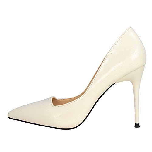 Heels Shoes Pointed Solid On PU Pumps High WeiPoot Pull White Women's Toe xIwOvZZqn0