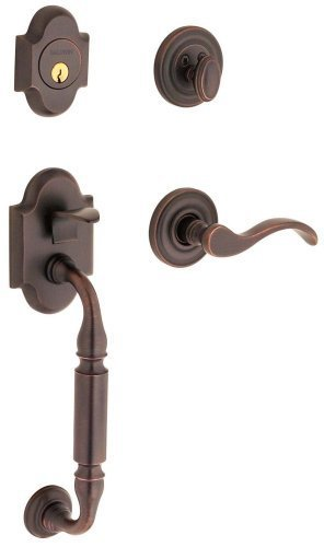 - Baldwin 85305.112.LENT Canterbury Sectional Trim Left Hand Handleset with Wave Lever, Venetian Bronze by Baldwin