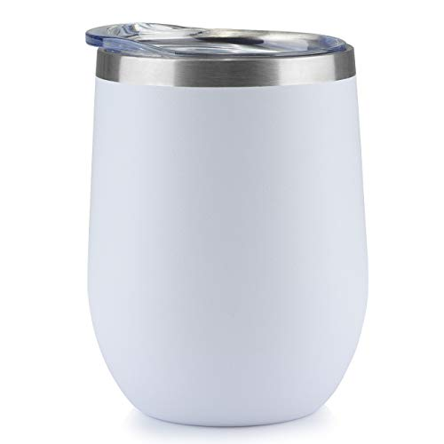 ONEB Stainless Steel Wine Tumbler with Lid, 12 OZ   Double Wall Vacuum Insulated Travel Tumbler Cup for Coffee, Wine, Cocktails, Ice Cream Cup With Lid (White, 12OZ-1pack-1) ()