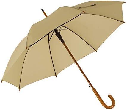 Notrash2003 Automatische paraplu houten paraplu met gebogen ronde haak houten handvat diameter 103 cm