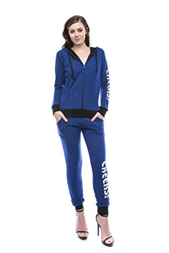 RouA Cuffed Sweatpants & Zip-Up Hoodie Jacket Set [Cheers!] Royal Large