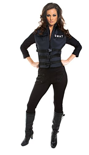 Underwraps Womens Police Officer Cop Lady Swat Stretch Jumpsuit Fancy Costume, XL (14-16) -