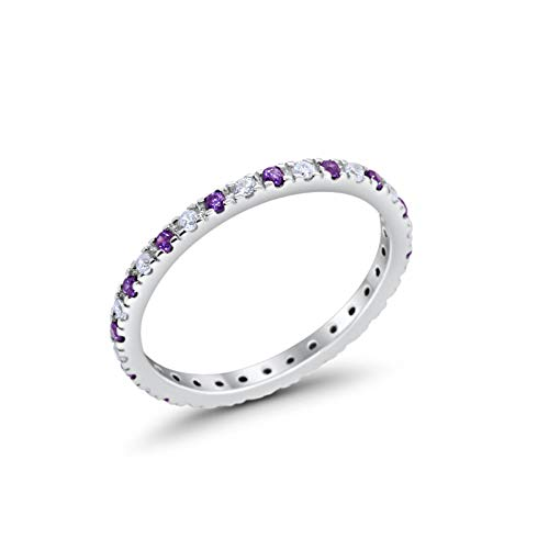 Blue Eternity Band - Blue Apple Co. 2mm Stackable Full Eternity Wedding Band Ring Round Simulated Amethyst Cubic Zirconia 925 Sterling Silver Size-7