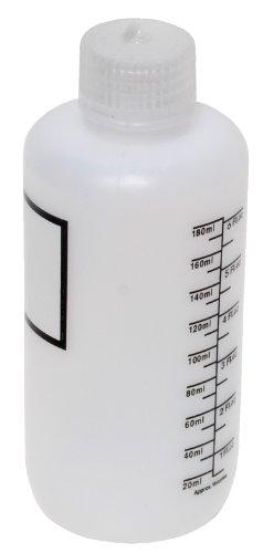 Vestil BTL-N-6-LBL Narrow Mouth Low Density Polyethylene (LDPE) Round Graduated Plastic Bottle with Label and Natural Cap, 6 oz Capacity, Translucent