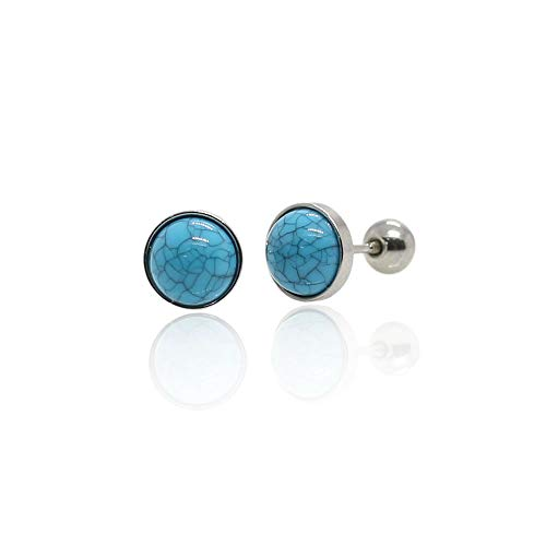 Circle Stud Earrings Piercing Hypoallergenic Crystal Screw back ball Surgical steel (Blue) -