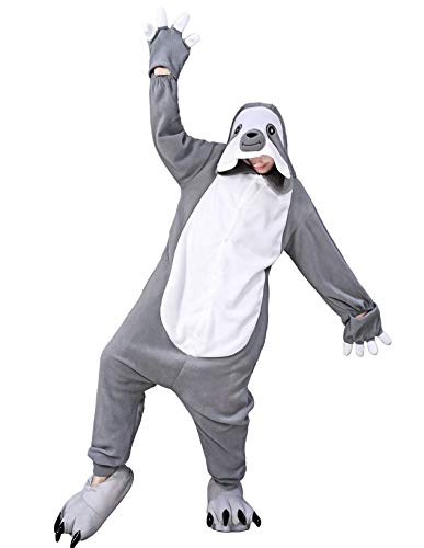 dressfan Unisex Animal Grey Sloth Cosplay Costume Halloween Costumes for Boys Kids Adult -