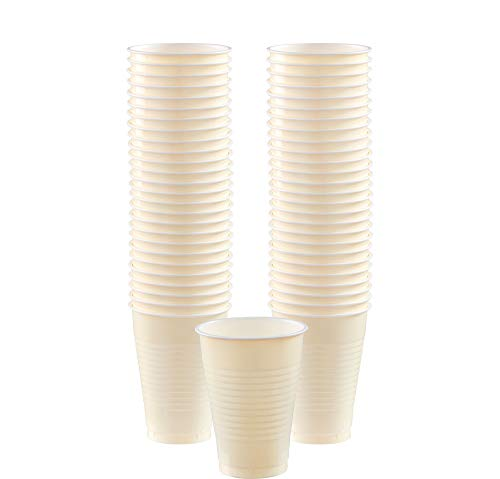 Creme Cup - Big Party Pack Vanilla Creme Plastic Cups | 12 oz.| Pack of 50 | Party Supply
