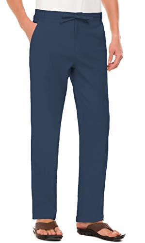 (Janmid Men Casual Beach Trousers Linen Summer Pants Navy Blue 3XL)
