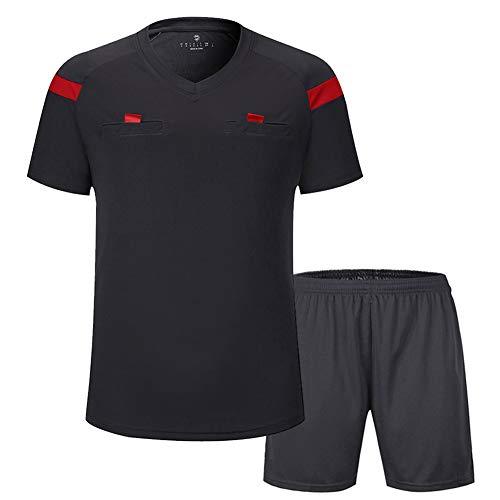 V-neck Short Sleeve Referee Shirt - Shinestone Soccer Short Sleeves Referee Jersey Men's Referee Shirt (Gray, Large)