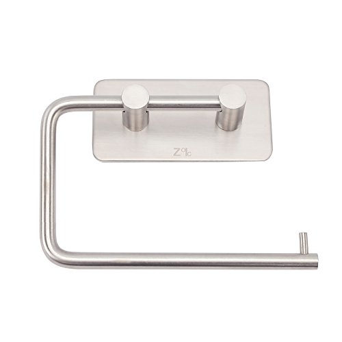 Zoic 3M Adhesive 304 Stainless Steel Toilet Paper Holder Hooks Tissue Storage Towel Roll Hanger RV Wall Mount Brushed Dispenser Tissue Roll (4.72 Inches X 2.75 - Steel Dispenser Paper Stainless Toilet