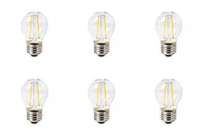 6 Pack DC 12 Volt String Warm White 2700k 2 Watt LED Edison Filament G45 Light Bulb E26 E27 Medium Base Lamp Low Voltage Solar Marine Boat Yacht Navigation Off Grid 12V Battery Lighting