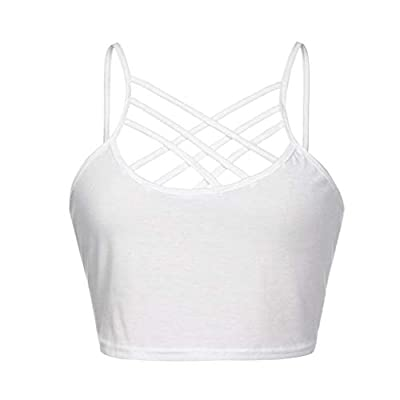 Lavany Women's Crop Tops Criss Cross Yoga Gym Running Sports Bra Workout Blouse at Women's Clothing store