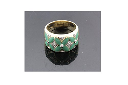 Yellow Green Enamel Ring - 9