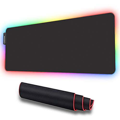 LUXCOMS RGB Soft Gaming Mouse Pad Large, Oversized Glowing Led Extended Mousepad ?Non-Slip Rubber Base Computer Keyboard Pad Mat?31.5X 11.8in