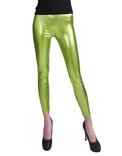 HDE Women's Shiny Leggings Metallic Wet Look Stretch Pants Clubwear (Green, X-Large)