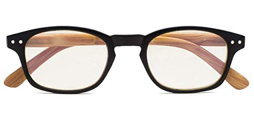 Reduce Eyestrain,Anti Blue Rays,Spring Hinge Bamboo Pattern Computer Reading Glasses(Black) +1.0