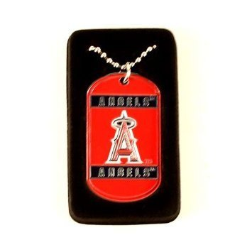MLB Los Angeles Angels Dog Tag Necklace, Silver, 18