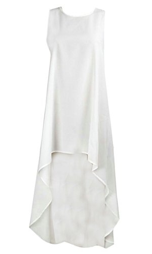 Loose Chiffon s Cromoncent Low High Sundress Women Sleeveless White Irregular Dress 1pExw0qHx