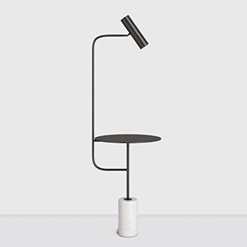 Briskaari Store- Nordic floor lamp- living room bedroom bedside modern minimalist creative marble coffee table LED vertical table lamp (Size : Black) ()