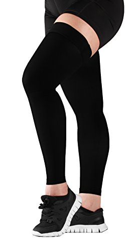 Mojo Thigh High Compression Stockings - Compression Leg Sleeve - 20-30mmHg Medical Graduated Compression - Thigh Hi Recovery Garment Treats Hamstring and Quad Injuries - Large, Black by Mojo Compression socks (Image #4)