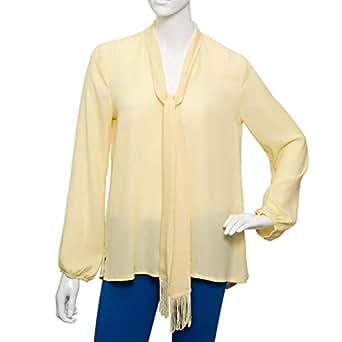 Parkland Yellow Polyester V Neck Blouse For Women